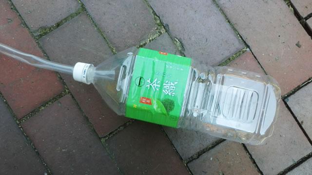 ペットボトルを使用した水盛り缶